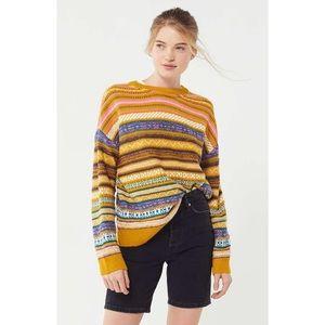 NWT UO Mustard Retro Vintage Striped Sweater